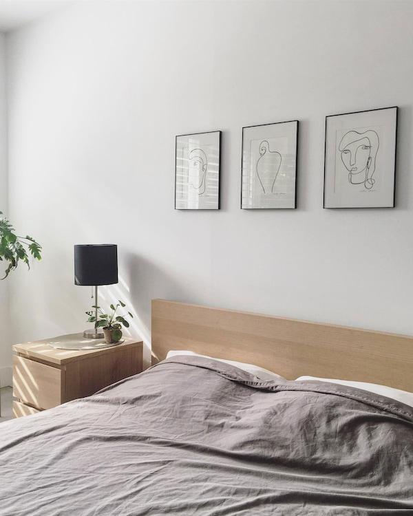 MALM structure de lit haut, chêne plaqué blanchi, grand deux places
