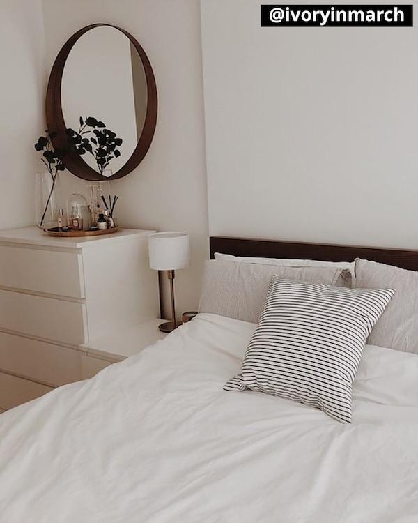 MALM Structure de lit haut, teinté brun frêne plaqué, Luröy, Grand deux places