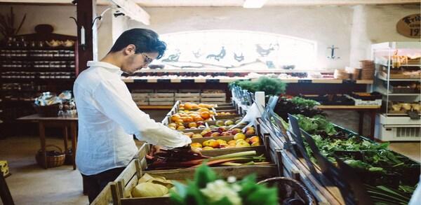 Man shopping for fruit