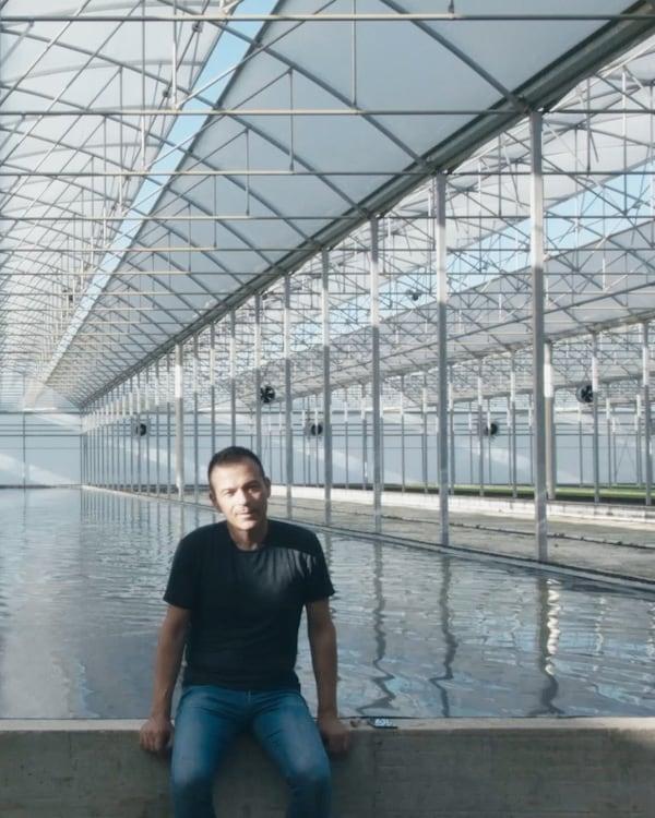 Man sitting at the edge of a water basin in a glass building.