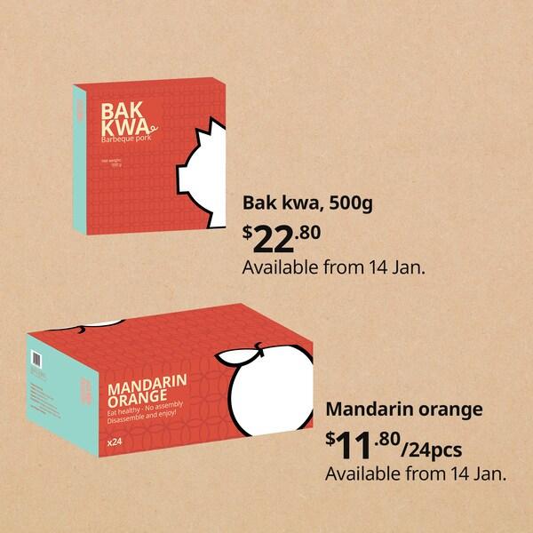 Mandarin oranges and bak kwa at IKEA Singapore