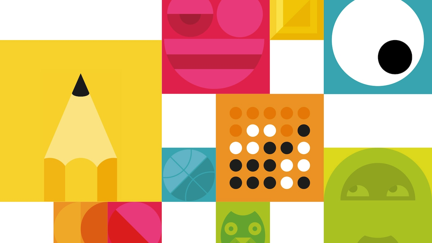 Many colourful, illustrated squares with graphic icons symbolising the themes of the IKEA Let's Play campaign.