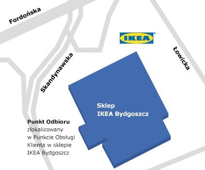 Mapa dojazdu do sklepu IKEA Bydgoszcz