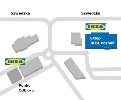 Mapa dojazdu do sklepu IKEA Poznań