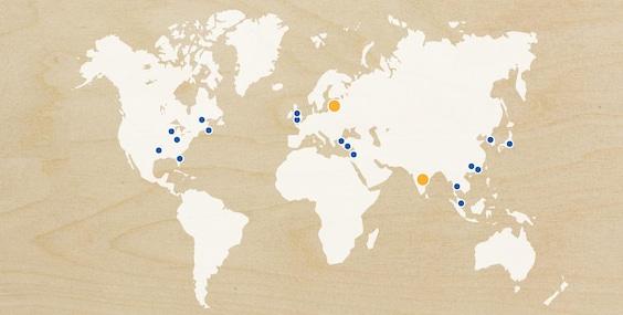 Mapa pokazująca nasze wejście na rynek, ekspansję i nadchodzące otwarcia sklepów w krajach na całym świecie w 2018 roku.