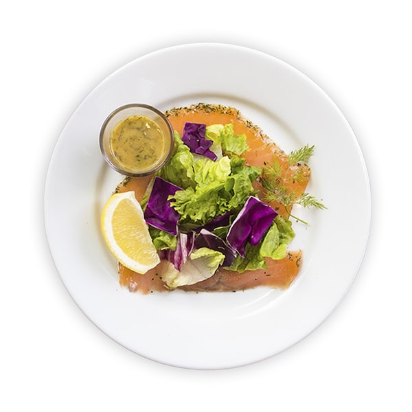 Marinated salmon with salad
