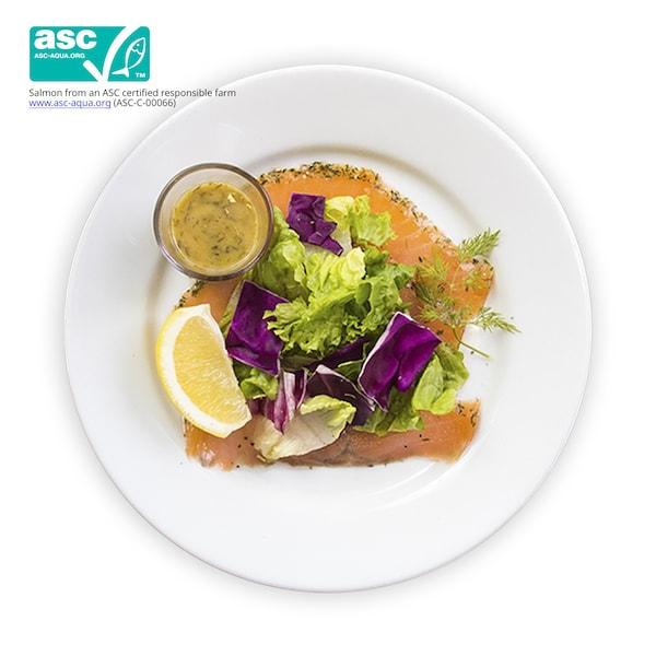 Marinated salmon with salad