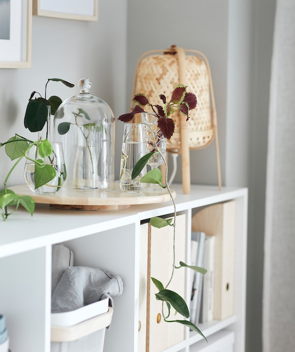 Matala olohuoneen kirjahjylly, jonka päällä pyörivällä tarjottimella on erilaisia kasviasetelmia maljakoissa.