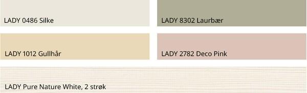 Matchende fargepalett fra Jotun. Disse fargene er avbildet: LADY 0486 Silke LADY 8302 Laurbær LADY 1012 Gullhår LADY 2782 Deco Pink LADY Pure Nature White, 2 strøk