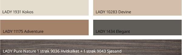 Matchende fargepalett fra Jotun. Disse fargene er avbildet: LADY 1931 Kokos LADY 10283 Devine LADY 11175 Adventure LADY 1434 Elegant LADY Pure Nature 1 strøk 9036 Hvitkalket + 1 strøk 9043 Sjøsand