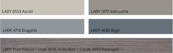 Matchende fargepalett fra Jotun. Disse fargene er avbildet: LADY 4638 Byge LADY 4710 Duggblå LADY 1877 Valmuefrø LADY 0553 Ascott LADY Pure Nature 1 strøk 9036 Hvitkalket + 1 strøk 9099 Patinagrå