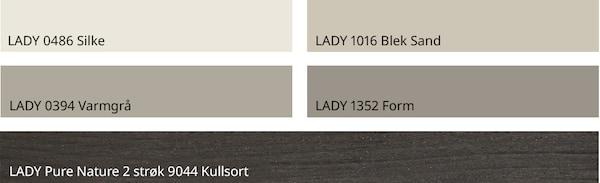 Matchende fargepalett fra Jotun. Disse fargene er avbildet: LADY 0486 Silke LADY 1016 Blek Sand LADY 0394 Varmgrå LADY 1352 Form LADY Pure Nature 2 strøk 9044 Kullsort