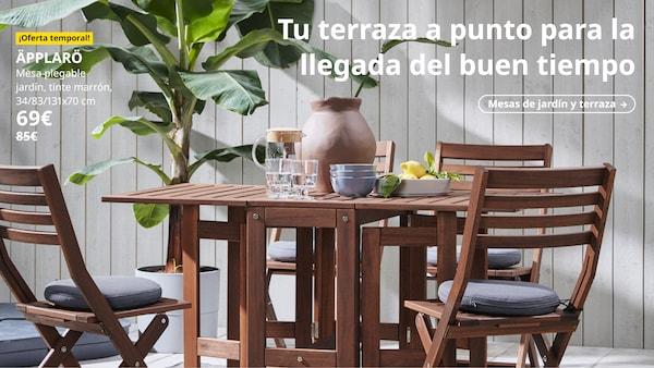Mesa plegable jardín, tinte marrón, 34/83/131x70 cm