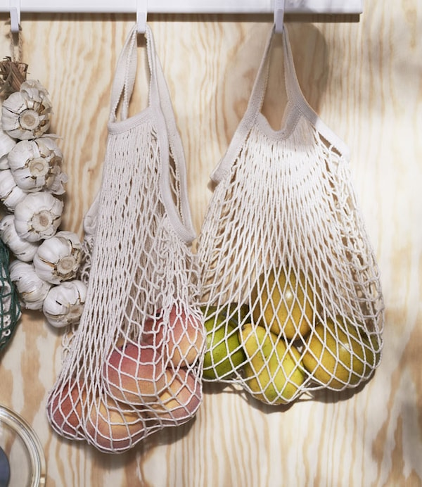Mesh bag, set of 2, natural