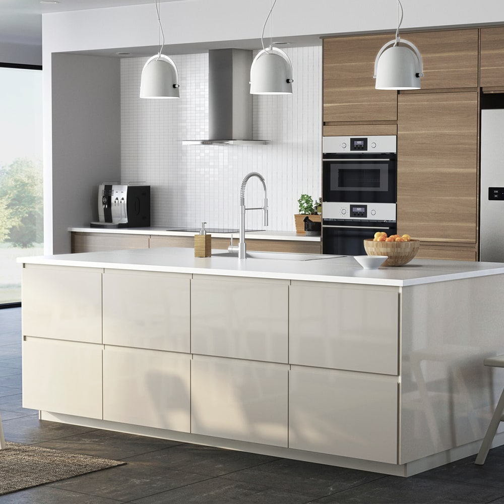 Page finitions cuisine VOXTORP beige brillant IKEA
