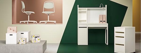 MICKE Schreibtisch, MICKE Schubladenelement, ÖRFALL/SPORREN Schreibtischsessel, TJENA Boxen