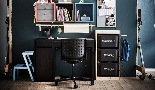 MICKE Schreibtisch, schwarzbraun