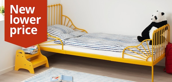 MINNEN Ext bed frame with slatted bed base, dark yellow, 80x200 cm