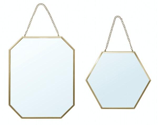 Miroir LASSBYN, jeu de 2, couleur or