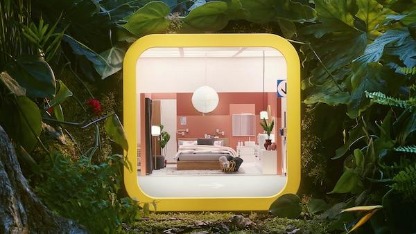 Místnost ve žluté krabici symbolizující  Aplikaci IKEA Store.
