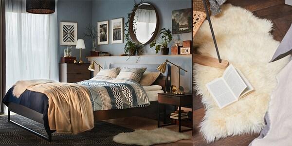 Mit Fellen kann man das Schlafzimmer gemütlicher machen