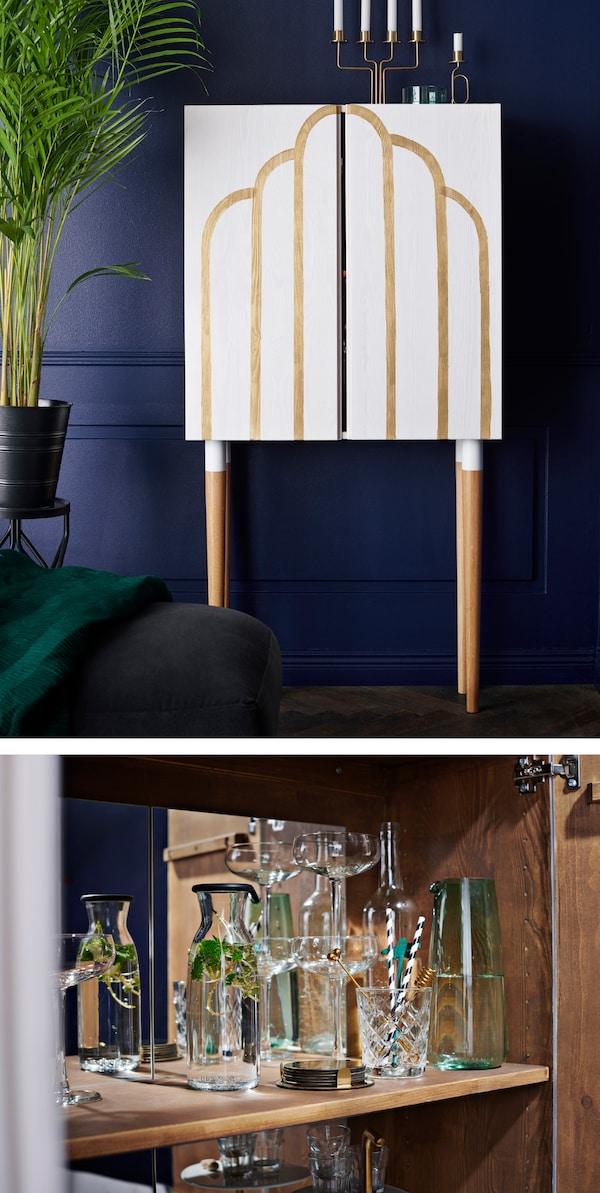 Mit IKEA IVAR Schrank aus Massivholz lässt sich ein ganz individueller Spirituosenschrank gestalten.