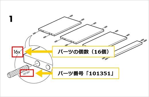 組み立て工程の中で、パーツ番号「101351」のネジを計16本使用することを意味しています。