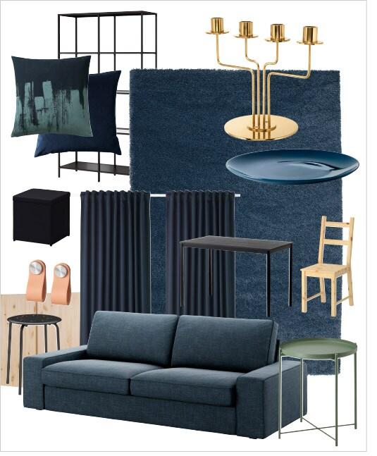 مجموعة من العناصر المطلوبة لإعادة تصميم غرفة الجلوس هذه.
