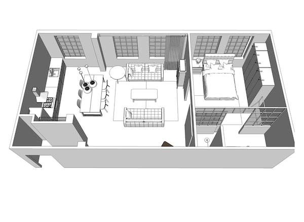 مخطط أرضية ثلاثي الأبعاد للشقة.