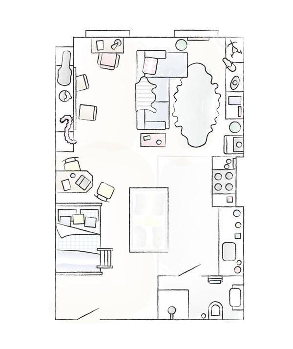 مخطط شقة دونالد وبن.