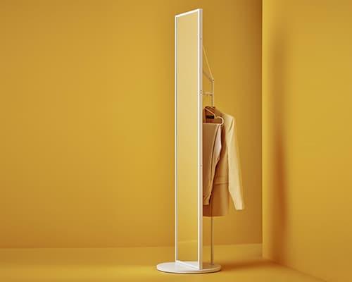 Многофункциональное зеркало ВЕННЕСЛА с штангой для одежды и аксессуаров в прихожую