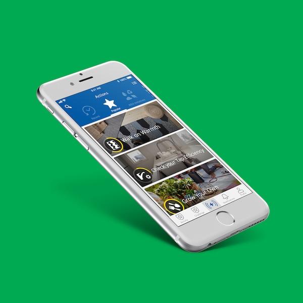 Mobilný telefón s aplikáciou IKEA Better Living.