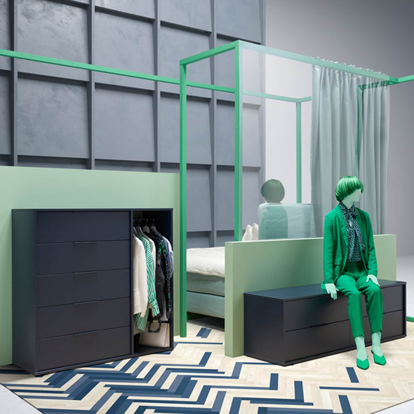 Modern NORDMELA chest of four drawers doubles as a bench. Shown in a bedroom, it can be used across the home, too.