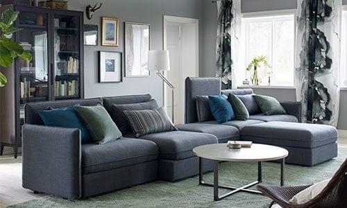 Modular sofa with storage solution - VALLENTUNA planner
