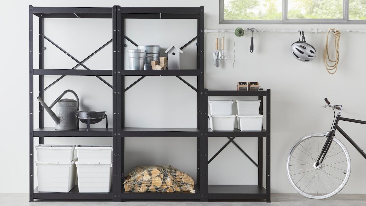 Modular storage BROR in black in a garage.