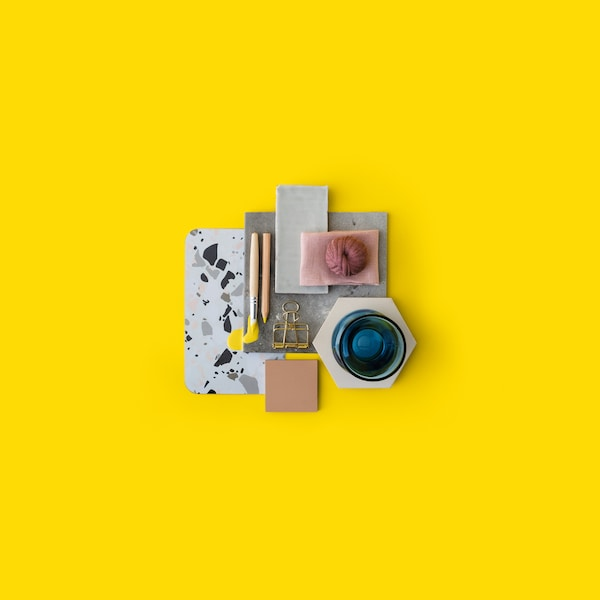 Moodboard with colours, objects and textures