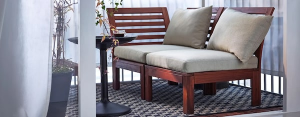 moveable wooden outdoor bench applaro ikea with plaid and cushions