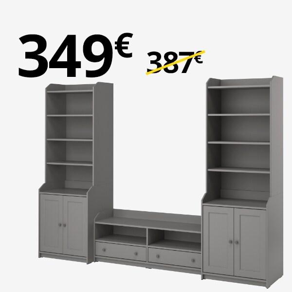 Mueble TV+ 2 armarios HAUGA gris