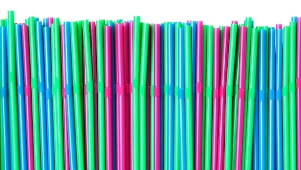Multi-coloured IKEA straws