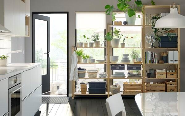 Mustavalkoinen keittiö, jossa kasveja, astioita ja kansioita puisilla hyllyillä.