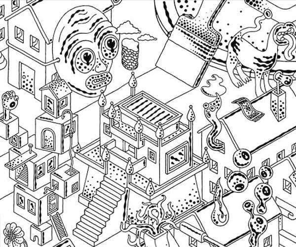Mustavalkoinen piirros LUSTIGT-mielikuvitusmaailmasta.