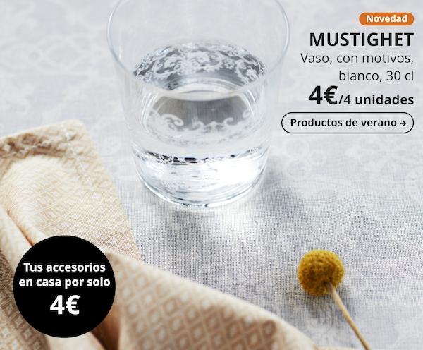 MUSTIGHET Vaso, con motivos, blanco, 30 cl