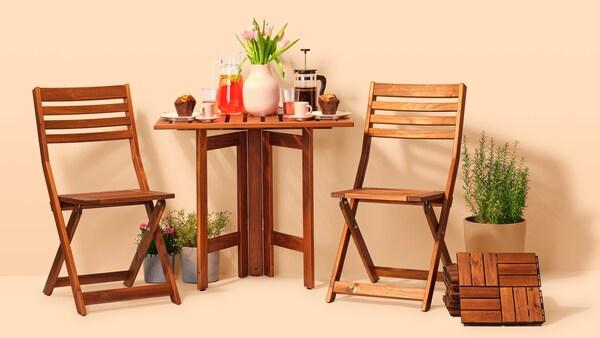 Na obrázku je koláž venkovních produtků IKEA.