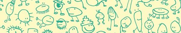 На желтом фоне изображены забавные детские рисунки вымышленных персонажей зеленого цвета.