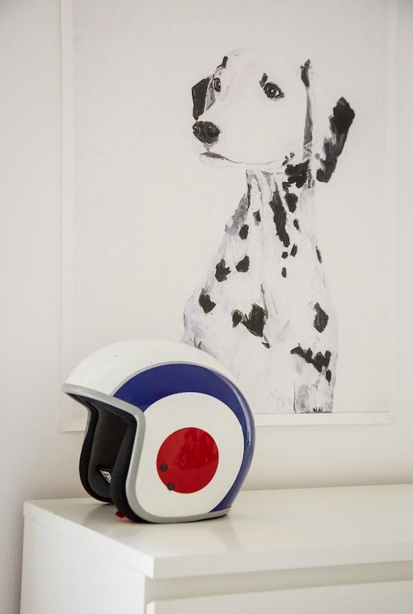 Nahaufnahme eines weißen Schrankes, auf dem ein Mopedhelm liegt, dahinter ein gemaltes Dalmatinerbild