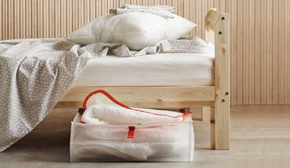 NEIDEN uses the natural solid wood, which is beautiful as it is or you can make it more personal by staining, painting or waxing it. Also, the bed frame is high enough so you can place storage boxes underneath.