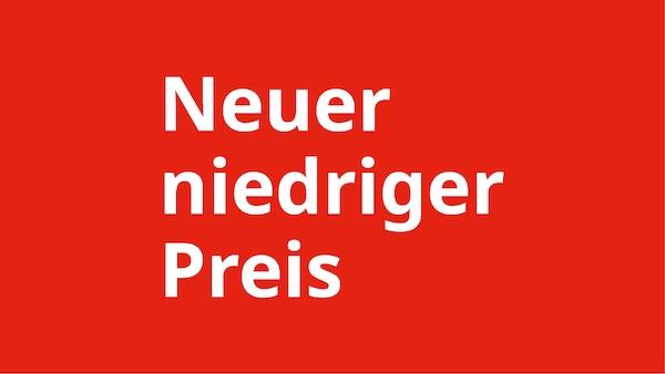 Neuer niedriger Preis in weißer Schrift auf rotem Untergrund - steht für Produkte die für einen längeren Zeitraum im Preis gesenkt wurden