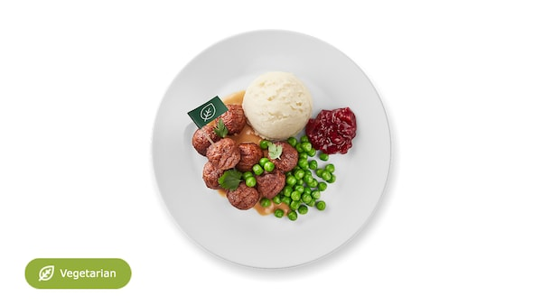 New: 8 plant balls with mashed potatoes, peas, cream sauce and lingonberry jam.