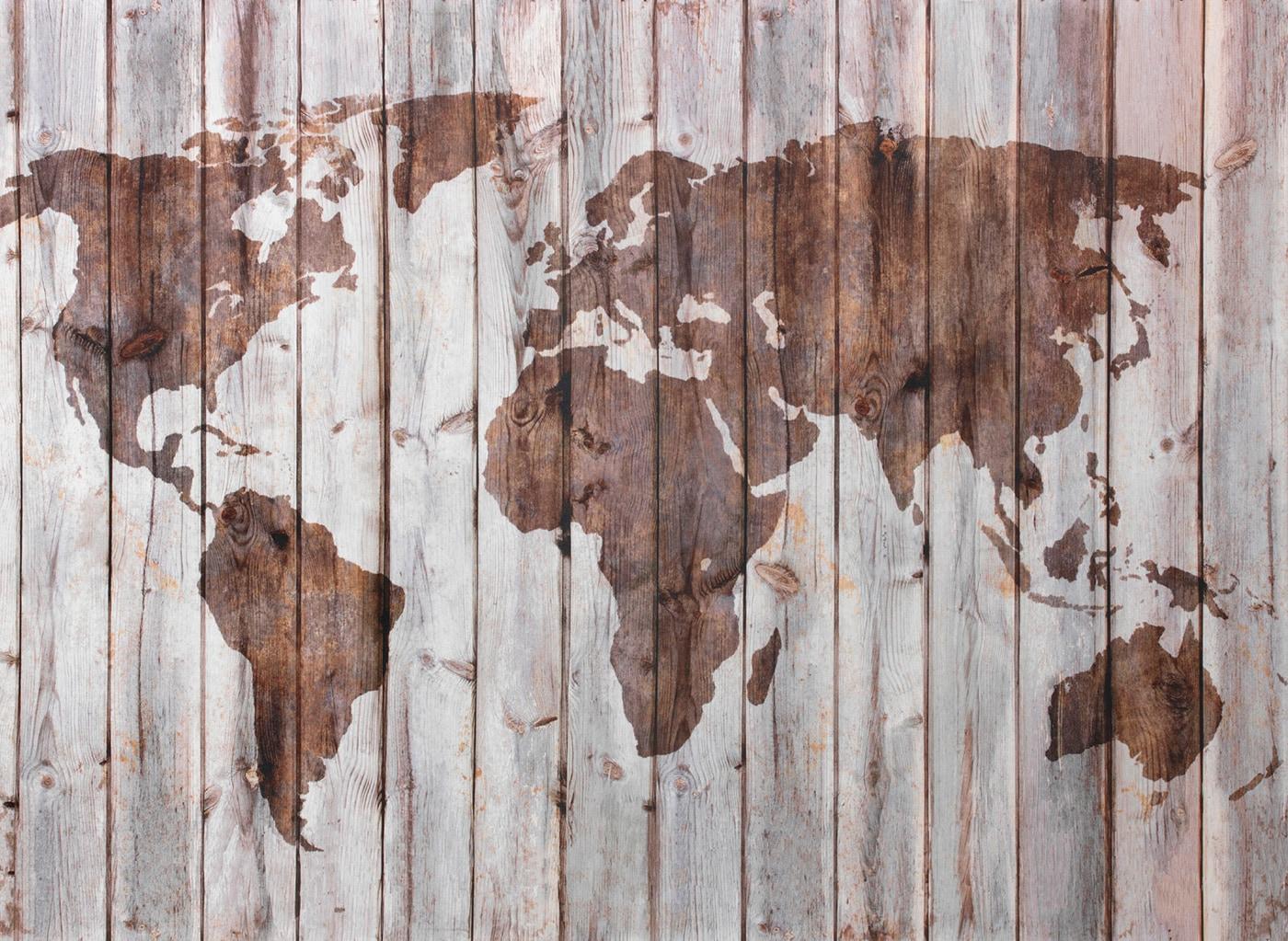 木材の壁に映った世界地図のシルエット。イケアが、木材から多くの製品をつくっているグローバルブランドであることを象徴しています。