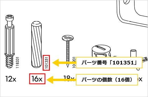 部品のパーツ番号と付属の個数を確認することができます。